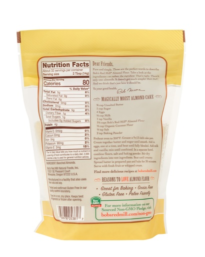 Almond meal/flour super fine - 16 oz - back