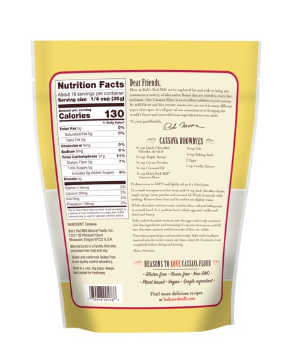 Cassava Flour 20oz- back