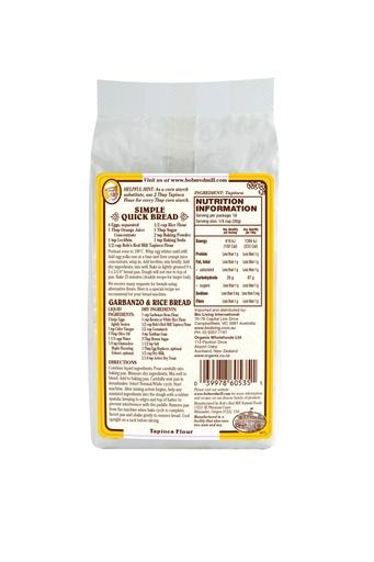 Tapioca flour - australia - back
