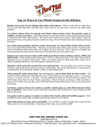 Top 10 Ways to Use Whole Grains - Info Sheet