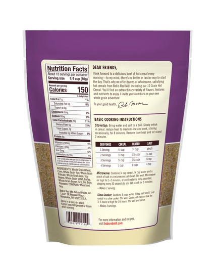 10 Grain Hot Cereal- back