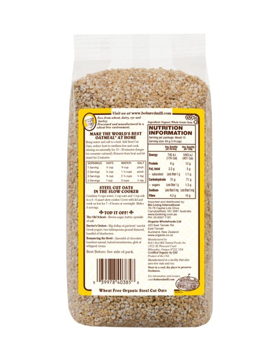 WF Organic steel cut oats - AU - 680g - back