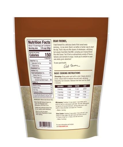 Brown Rice Farina Hot Cereal- back