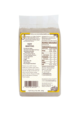 Teff flour - uk - back