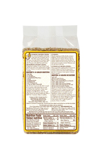 10 grain cereal - canadian - 708g - back