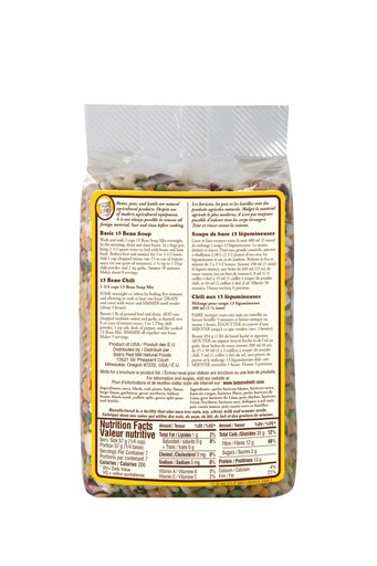 13 bean soup mix - canadian - 822g - back