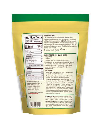 Corn Grits/Polenta Organic- back