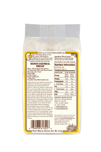 Vital wheat gluten - uk - back