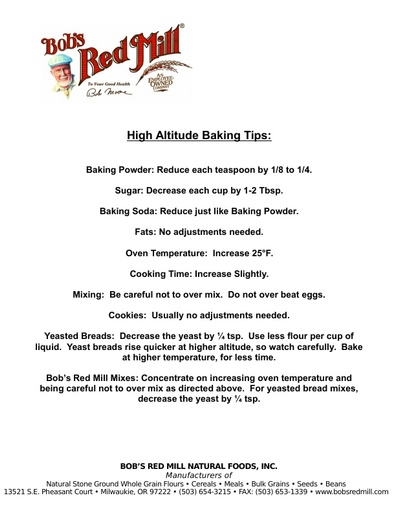 High Altitude Tips Info Sheet