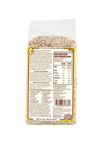 Wf quick cooking oats - australia - back