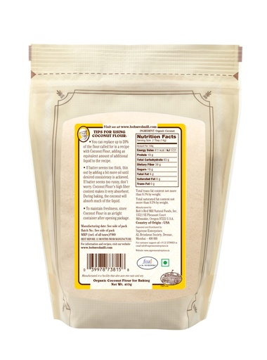 Coconut flour - 453g - IN - back
