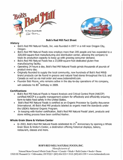 Bob's Red Mill Fact Sheet