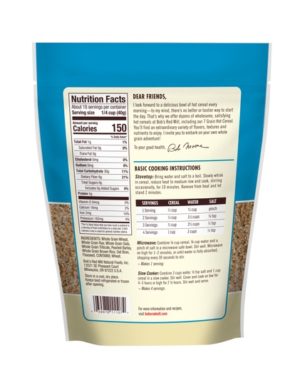 7 Grain Hot Cereal - back