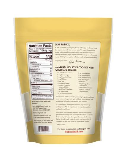 Amaranth Flour Organic- back