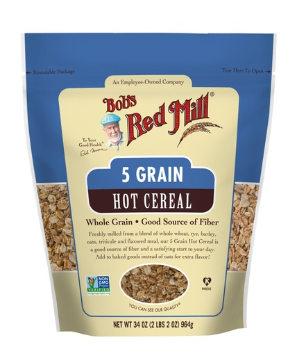 5 Grain Rolled Hot Cereal- front 34 oz