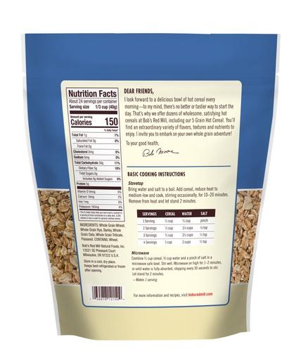 5 Grain Rolled Hot Cereal - back 34 oz