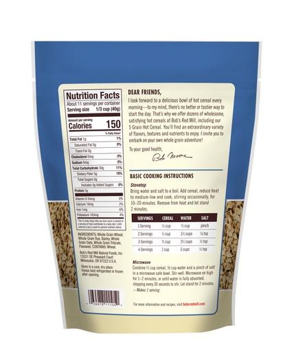 5 Grain Rolled Hot Cereal - back 16 oz