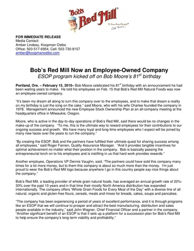 2/10 ESOP Press Release For Trade and Media