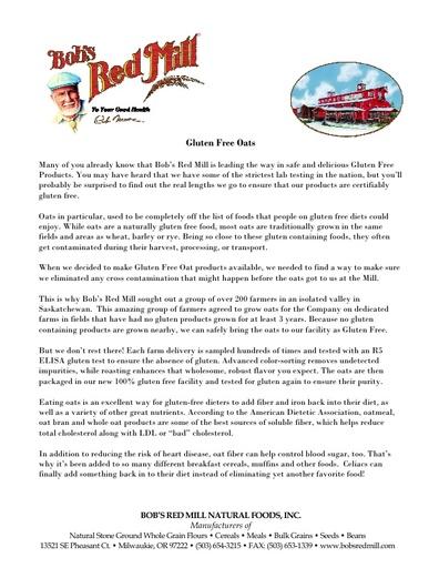 Gluten Free Oats Information